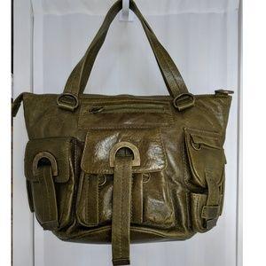Cynthia Rowley olive green leather bucket bag
